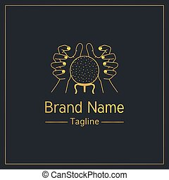 Fortune telling golden elegant logo design template