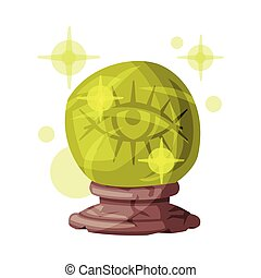 Fortune Telling Magic Crystal Ball, Witchcraft Attribute, Happy Halloween Object Cartoon Style Vector Illustration Isolated on White Background.
