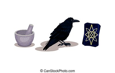 Fortune Telling Objects with Black Cat and Candle Vector Set. Future Predicting and Divination Concept