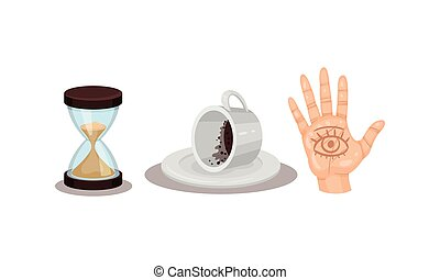 Fortune Telling Objects with Hand Palm and Coffee Grounds Vector Set. Future Predicting and Divination Concept