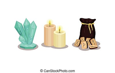 Fortune Telling Objects with Rune and Candles Vector Set. Future Predicting and Divination Concept