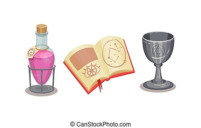Fortune Telling Symbols with Potion in Jar and Spell Book Vector Set. Future Predicting and Divination Concept