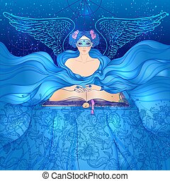 Fortune telling. young beautiful woman in mask an scarf reading an ancient book. Vector illustration. Night sky with moon and stars. Mystic concept design.
