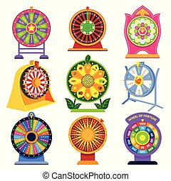 Fortune wheel vector spin game icons roulette lucky fortunate wheeled lottery casino set illustration isolated on white background