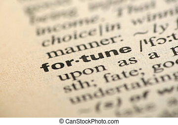 Word fortune in a dictionary
