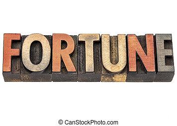 fortune word in vintage wood type