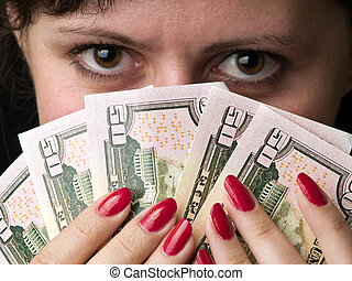 Fortune - Young woman with dollars as feather happy winner