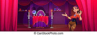 fortuneteller, ジプシー, 女, 招待, 部屋, 神秘主義である