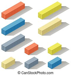 Forty and twenty foot sea containers of different colors isometric icons set