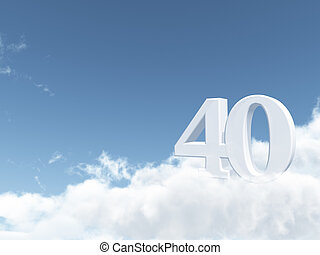 forty - the number forty - 40 - on clouds - 3d illustration