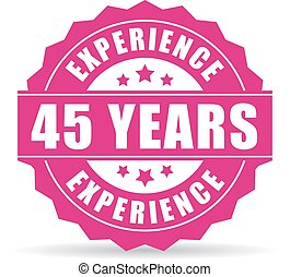 Forty-five years experience vector icon isolated on white...