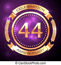 Forty four years anniversary celebration with golden ring...