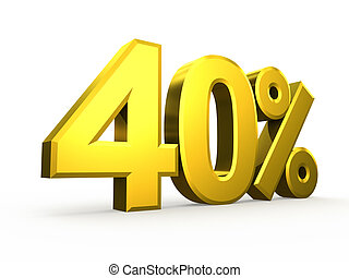 Forty percent symbol on white background