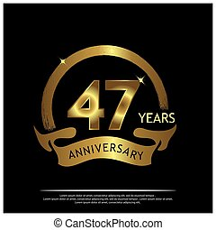Forty seven years anniversary golden. anniversary template design for web, game ,Creative poster, booklet, leaflet, flyer, magazine, invitation card - Vector