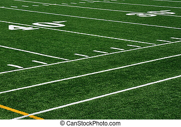 Forty Yard Line on American Football Field and Sideline