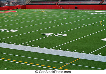 Forty Yard Line - A stadium view of the forty yard line at a...