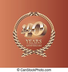 Forty years anniversary celebration design. Golden seal logo