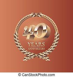 Forty years anniversary celebration design. Golden seal logo