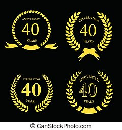 forty years anniversary laurel gold wreath set - forty years...