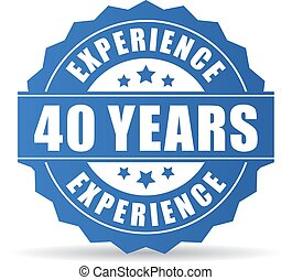 Forty years experience vector icon isolated on white...