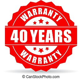 Forty years warranty vector icon on white background