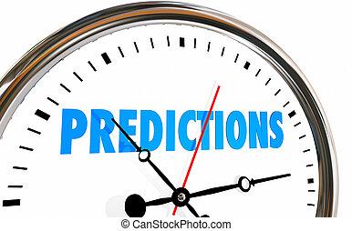 forudsigelser, fremtid, prognose, stueur, tid, glose, 3, illustration