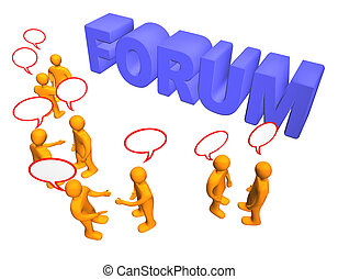 3d illustration looks many humans with talk bubbles and worth forum.