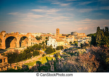 Forum and Coliseum in Rome - View on Coliseum in Rome, Italy