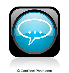 forum black and blue square web glossy icon