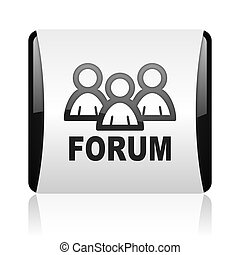 forum black and white square web glossy icon