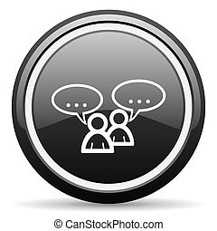 forum black circle glossy web icon