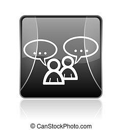 forum black square web glossy icon