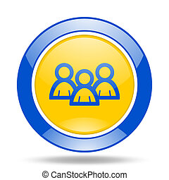 forum blue and yellow web glossy round icon