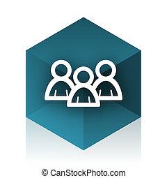 forum blue cube icon, modern design web element