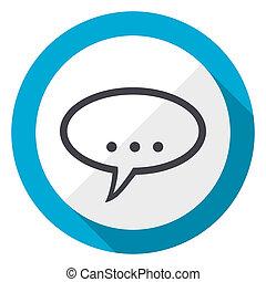 Forum blue flat design web icon