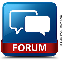 Forum blue square button red ribbon in middle