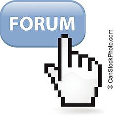 Forum Button - Forum button with a cursor hand.
