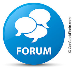 Forum (comments icon) cyan blue round button