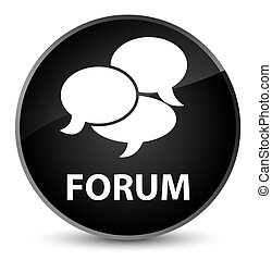 Forum (comments icon) elegant black round button
