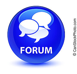 Forum (comments icon) glassy blue round button