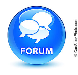 Forum (comments icon) glassy cyan blue round button