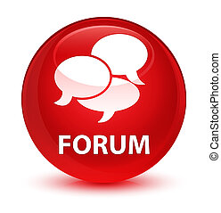 Forum (comments icon) glassy red round button