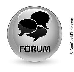 Forum (comments icon) glassy white round button