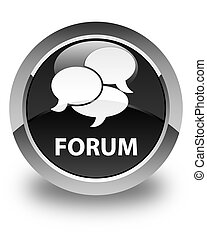 Forum (comments icon) glossy black round button