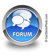 Forum (comments icon) glossy blue round button
