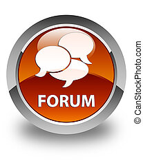 Forum (comments icon) glossy brown round button