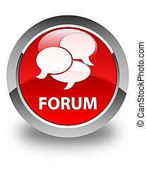 Forum (comments icon) glossy red round button
