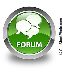 Forum (comments icon) glossy soft green round button
