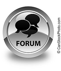 Forum (comments icon) glossy white round button