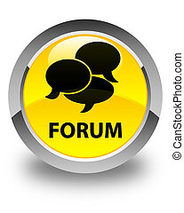 Forum (comments icon) glossy yellow round button